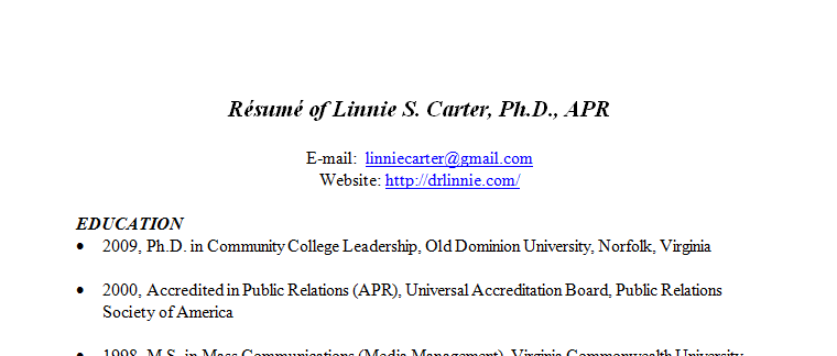 linnie-resume-screenshot